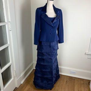 Roland Nivelais Blue Silk Ball Gown w/Jacket 12